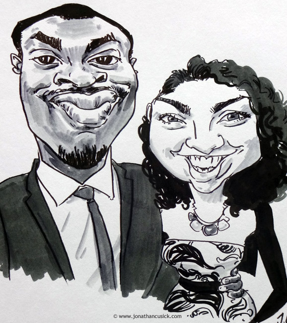 drawing of wedding guests by live caricaturist available to hire for events in birmingham and west midlands