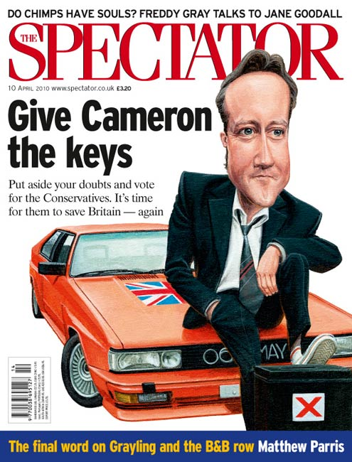 caricature of david cameron. spectator political cartoon for election issue by Jonathan Cusick