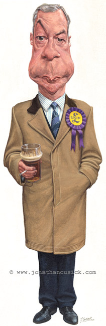 caricature of Ukip leader Nigel Farage with pint of beer and cigarette. political cartoon by jonathan cusick
