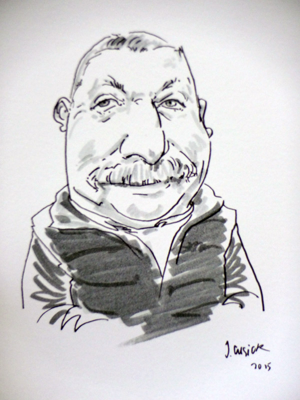 drawing by live caricaturist of person