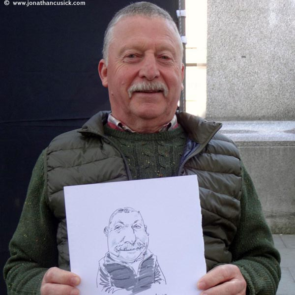 live caricaturist drawing of man in shrewsbury, west midlands