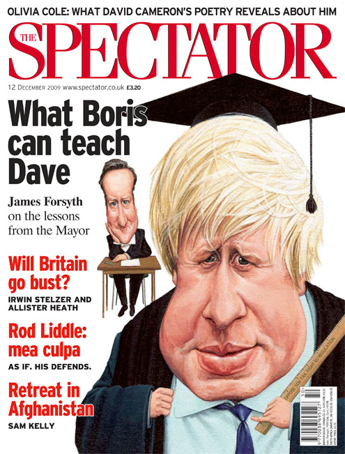 Political caricatures of Boris Johnson and David Cameron. cartoon for the spectator by caricaturist jonathan cusick