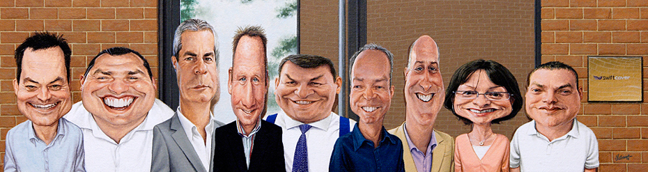 caricature commission of swiftcover insurance board of directors