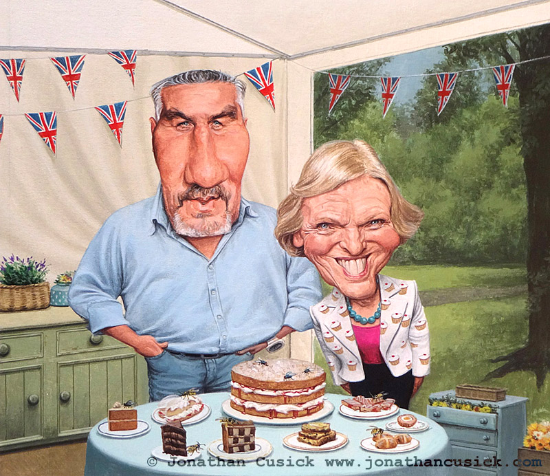 Paul Hollywood and Mary berry TV Chef great british bake off caricature illustration by caricaturist JOnathan Cusick