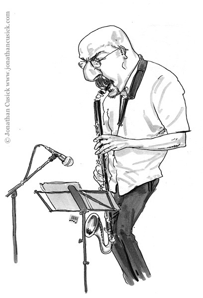 sketchbook drawing of bass clarinet player at jazz performance