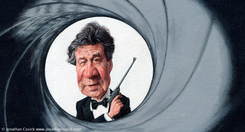 cariacture of Melvyn Bragg for the times newspaper by caricaturist illustrator Jonathan Cusick