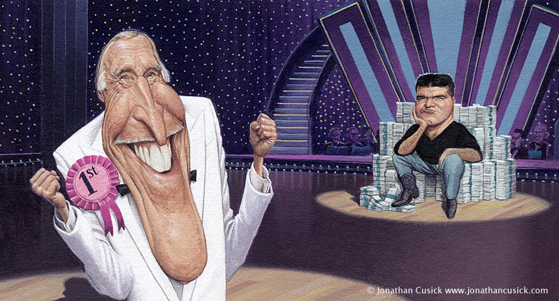 caricature by jonathan cusick of Bruce Forsyth and simon cowell. Strictly come dancing and x factor.