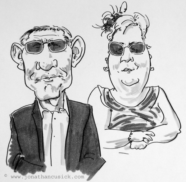 live caricature drawing of wedding guests, Ashbourne, Derbyshire