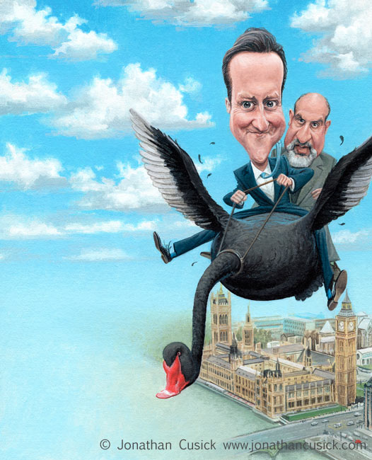 spectator political cartoon cover; caricatures of David Cameron and Nassim Nicolas Taleb over westminster