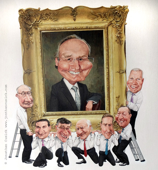 caricature painting for leaving present by Uk caricaturist Jonathan Cusick