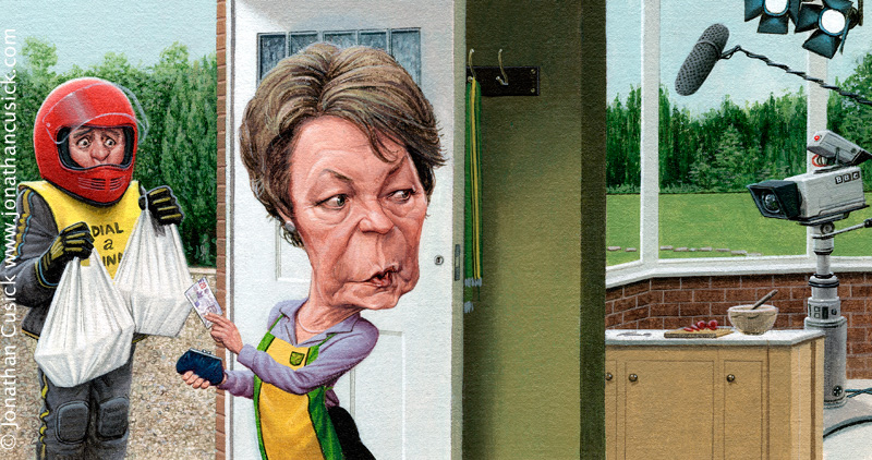 caricature of Delia Smith for Caitlin Moran's TV review in The Times, UK, Art by caricaturist Jonathan Cusick