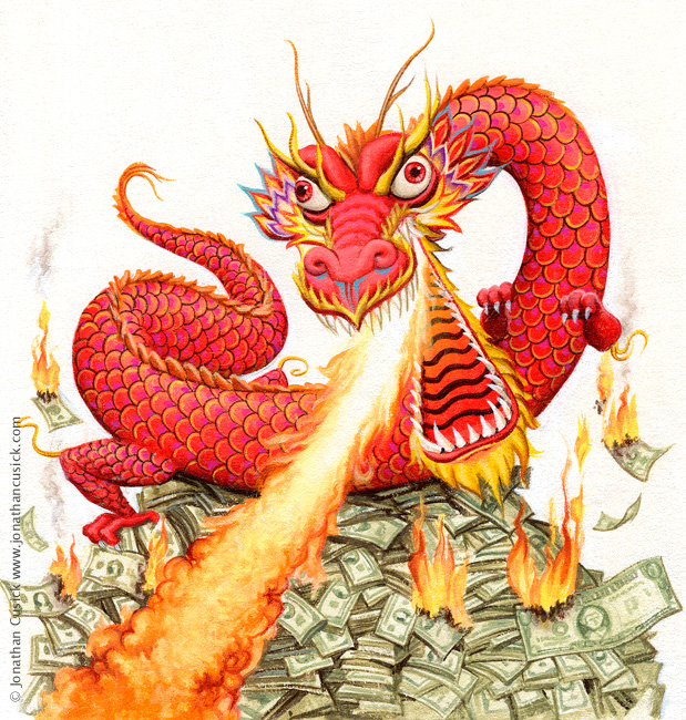 Chinese dragon cartoon. Cover illustration for Spectator Magazine by Jonathan CUsick.