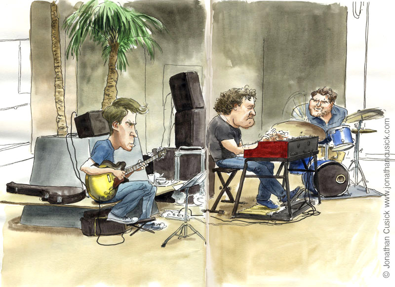drawing in sketchbook of organ trio by jazz illustrator jonathan cusick