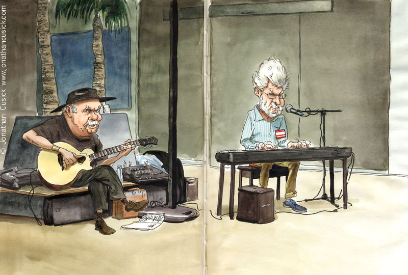 drawing of Bob Hall and Dave Peabody at jazz festival by jazz illustrator
