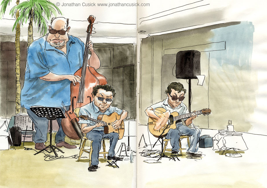 sketchbook drawing, ink and watercolour, of gypsy jazz guitarists at Birmingham Jazz Festival 2013