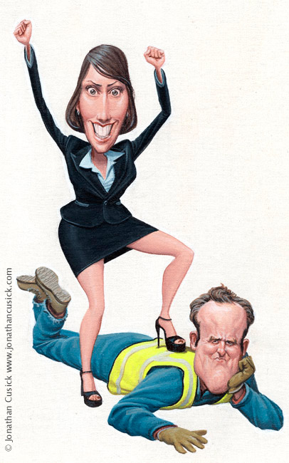 magazine cover illustration by cartoonist jonathan cusick. Female office worker and male blue collar worker
