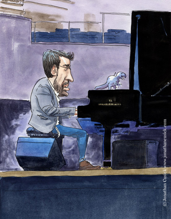 drawing of Neil Cowley Trio by caricaturist and illustrator jonathan cusick