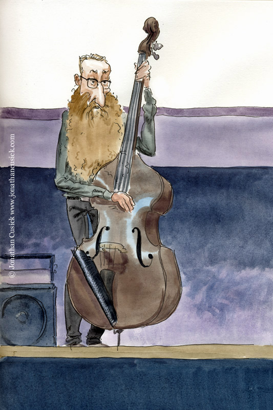 Drawing by illustrator of Rex Horan, bassist with Neil Cowley Trio