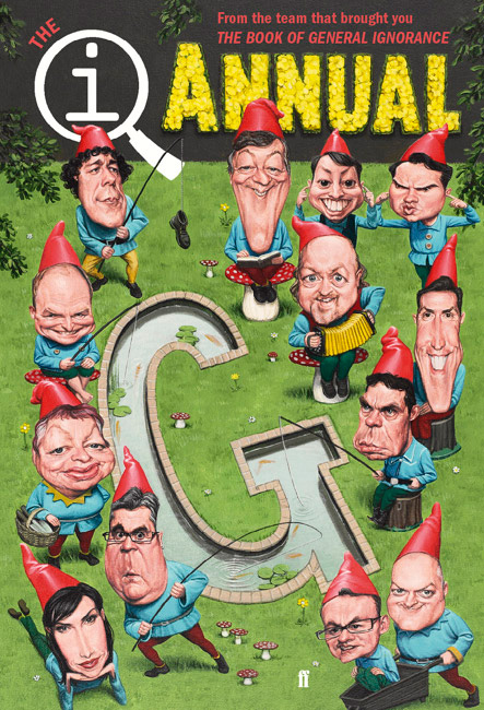 qi annual 2010 with cover by caricature illustrator jonathan cusick. Stephen fry, Jimmy Carr caricature
