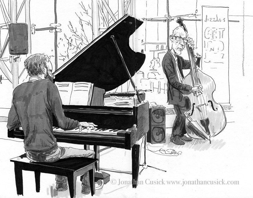drawing in sketchbook of jazz pianist and bassist