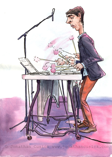 Sketchbook drawing by caricaturist Jonathan Cusick of Jim Hart playing Jazz Vibes at a gig