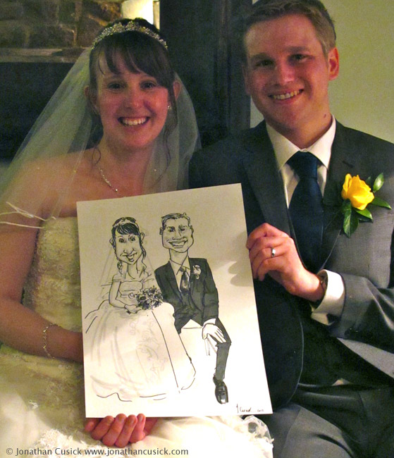 bride and groom caricature drawing, Birmingham, west midlands