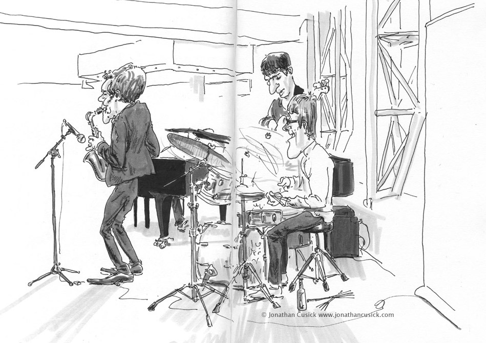 drawing in sketchbook of jazz quartet by Jonathan Cusick