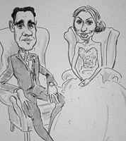 live caricature drawing of bride and groom, derbyshire wedding