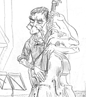 cartoon drawing in sketchbook of jazz musician