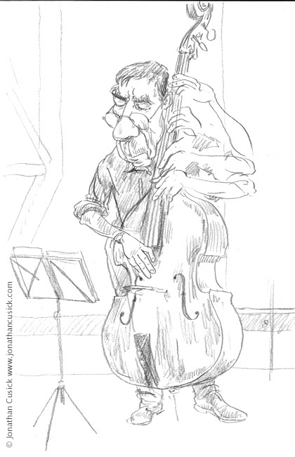 jazz illustration- drawing of bass palyer made live during gig