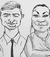 live caricature drawing by caricaturist JOnathan Cusick of wedding guests in Birmingham, Midlands