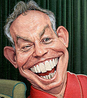 political cartoon for the times newspaper of prime minister Tony Blair- caricaturist JOnathan Cusick