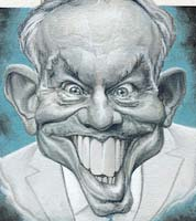 spectator political magazine cover cartoon -tony blair. Artwork by political cartoonist jonathan cusick