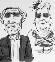 live caricature drawing of guests at wedding in derbyshire