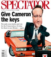 Cover illustration for the spectator magazine- election issue. caricature of david cameron. political cartoon by JOnathan Cusick