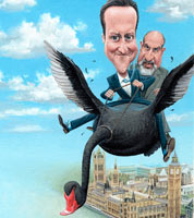 political magazine cover by caricaturist and cartoonist. caricature of david cameron and nassim taleb