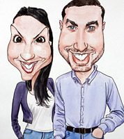 caricature commission for wedding or birthday gift, ink and watercolour