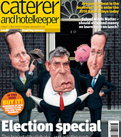 political cartoon for election issue of Caterer magazine. caricatures of clegg, cameron and brown