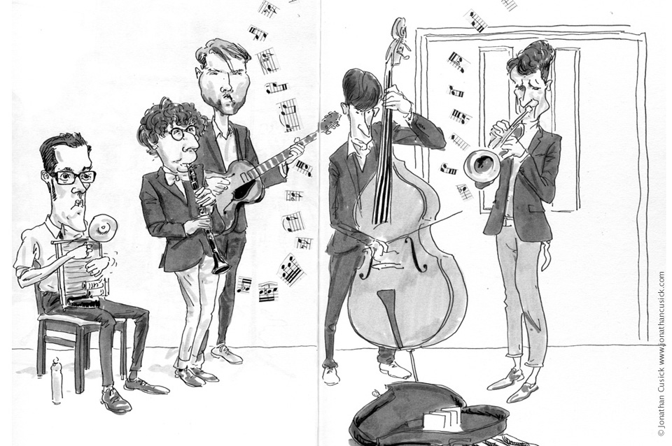 sketchbook drawing of traditional jazz band the Dixie Ticklers performing at Birmingham Jazz Festival