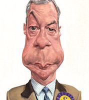 political cartoon of Nigel Farage, Ukip leader caricature