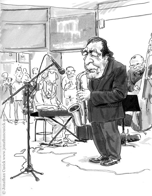 cartoon drawing in sketchbook of birmingham jazz festival 2012