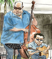 drawing of gypsy jazz guitarists at Birmingham Jazz festival 2013