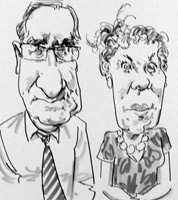 live caricature drawing of wedding guests in Worcestershire by caricaturist Jonathan Cusick