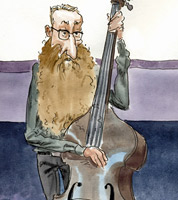 jazz illustration of bassist Rex Horan by cartoonist jonathan cusick