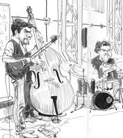 drawing of Dan Messore by jazz illustrator jonathan cusick