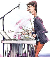 drawing of Jim Hart on Jazz vibes by cartoonist jonathan cusick