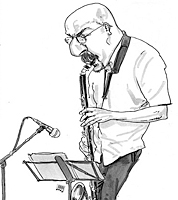 sketchbook drawing of bass clarinettist at jazz gig
