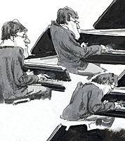 drawings of jazz pianist in illustrator's sketchbook