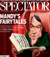 cover cartoon for the spectator, peter mandelson memoirs by political caricaturist jonathan cusick