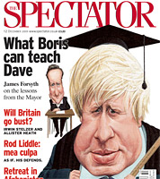 political cartoon of Boris Johnson for cover of the spectator magazinecover by caricaturist jonathan cusick